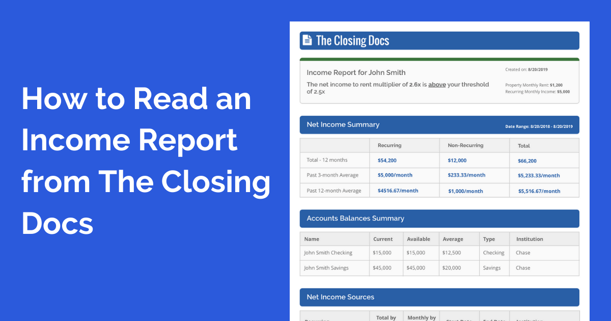 The Closing Docs automated income verification income report